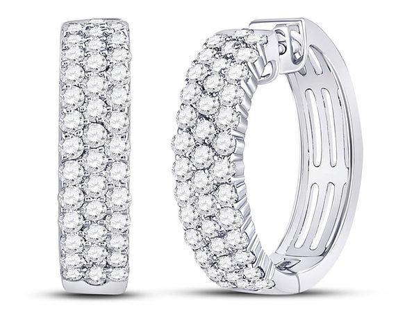 1.50 Carat (ctw I-J, I2-I3) Diamond Huggie Hoop Earrings in 10K White Gold