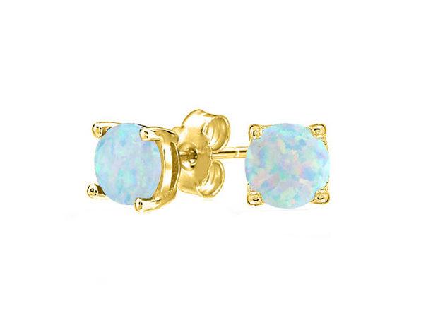 Opal-like Stud Earrings Gold - Product Image