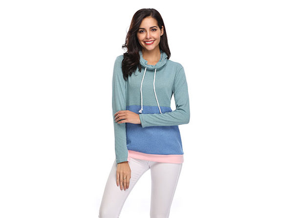 Two-Tone Cowl Neck Pullover with Thumb Holes (Green/Large)