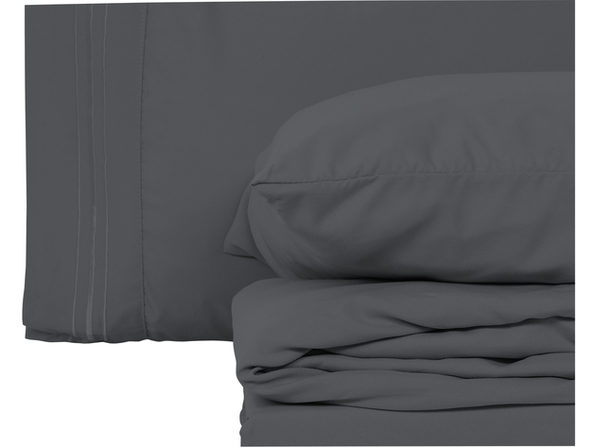 Style Basics 4 Pack of Super Soft Brushed Microfiber 16-Pieces Bed Sheet Set - 1800 Series  Easy-Clean - Grey California King