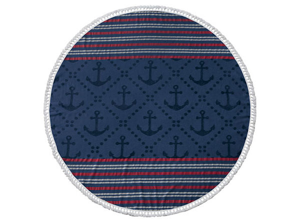 Anchor Round Turkish Beach Towel (Blue) - Product Image