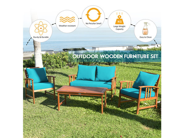 Costway 4 Piece Wooden Patio Furniture, Turquoise Outdoor Furniture