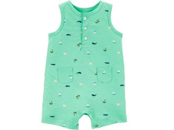 Carters Baby Boys Beach Tank Slub Jersey Romper Mint Size 9 Months
