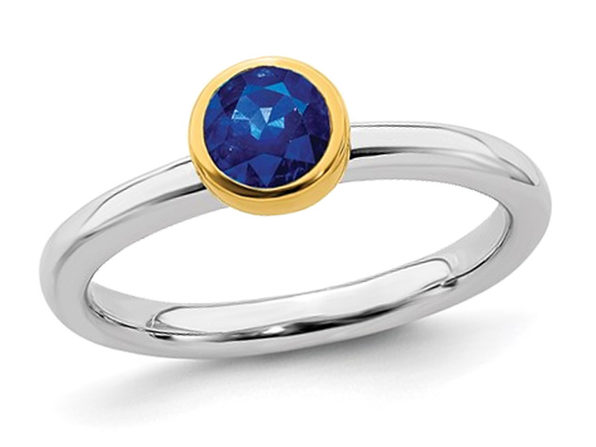 Ladies Lab Created Blue Sapphire Solitaire Ring 1/2 Carat (ctw) in Sterling Silver with Yelow Gold Plated Accent - 5