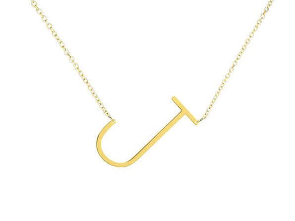 "18K Gold Plated Letter ""J"" Necklace"