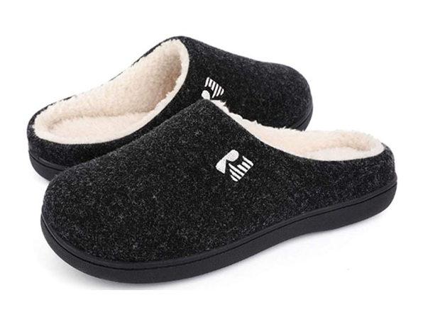 RockDove Men's 2-Tone Memory Foam Slippers | Black/Natural (Size 11-12)