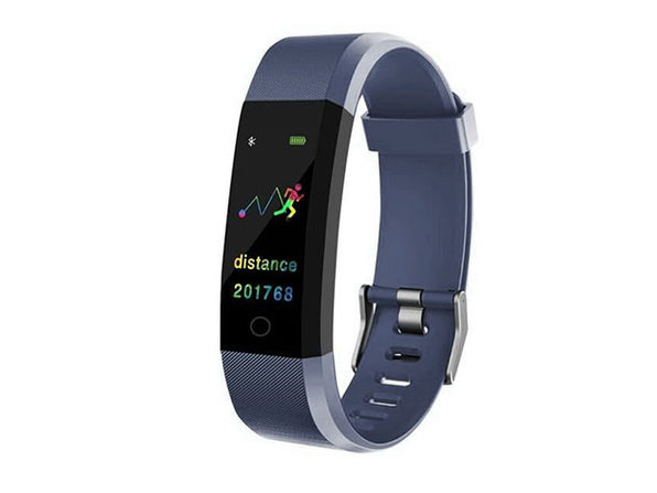 Waterproof Fitness Tracker With HR & BP Monitor - Blue - Product Image
