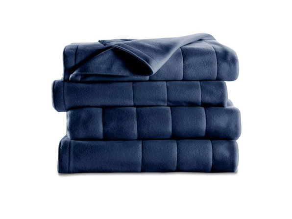 Sunbeam Quilted Fleece Heated Electric Blanket Queen Newport Blue Washable Auto Shut Off 10 Heat Settings - Newport Blue