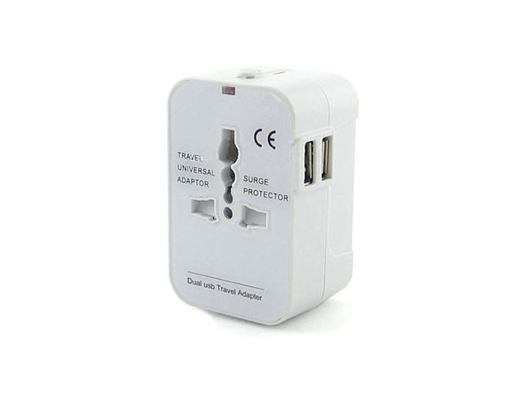 Worldwide Power Adapter and Travel Charger with Dual USB Ports