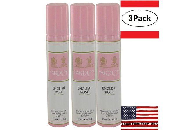 3 Pack English Rose Yardley by Yardley London Body Spray 2.6 oz for Women - Product Image