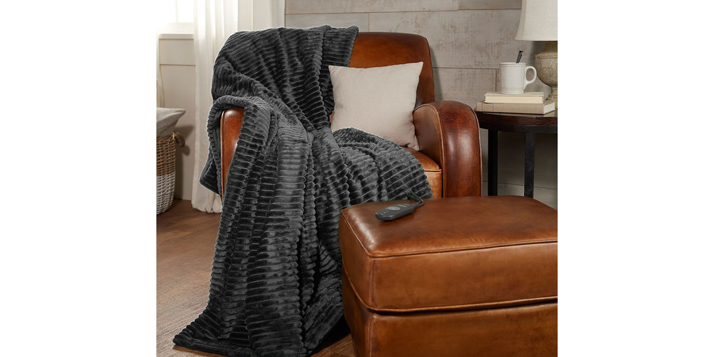 Sunbeam Ribbed Textured Velvet Plush Electric Heated Warming Throw Blanket TB16 – Grey, on sale for $69.99