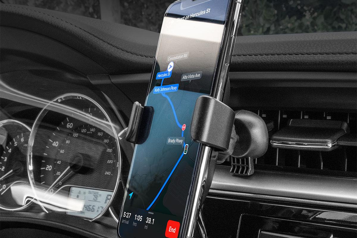 A phone mount in a car