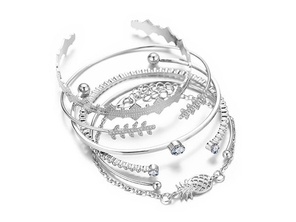 6-Piece Geometric Bangle Set with Swarovski® Crystals