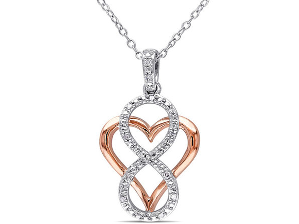 1/20 Carat (ctw) Accent Diamond Heart Pendant Necklace in Rose Plated Sterling Silver with Chain
