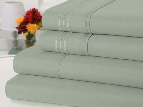 Bamboo Comfort 4 Piece Solid Sheet Sets- Full- Sage - Product Image