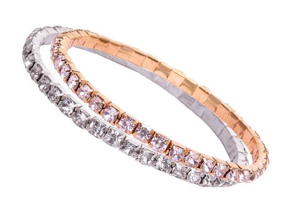 Oussum Tennis Bracelets with Swarovski Elements: Set of 2 (Gold & Silver)
