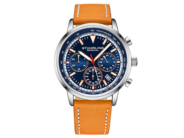 Quartz 44mm Chronograph Men's Watch (Orange/Blue)