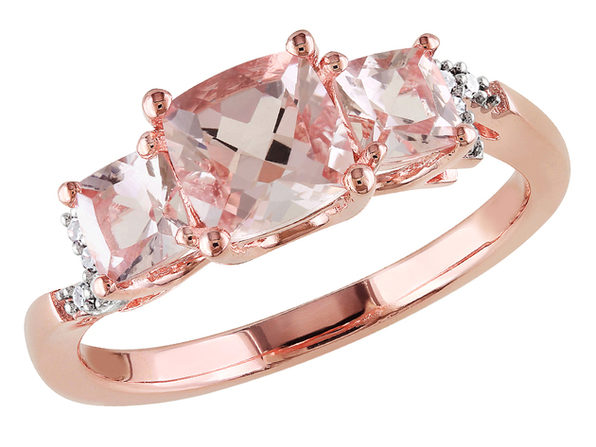 Morganite Three Stone Ring 1.40 Carat (ctw) with Diamonds in Rose Sterling Silver - 5