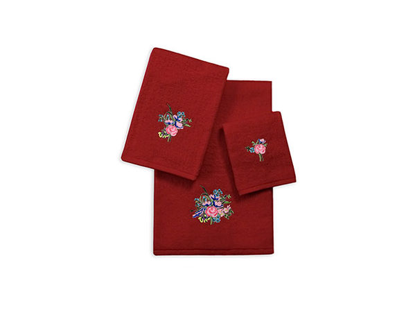 3-Piece Zero Twist Embroidered Towel Sets - Burgundy - Roses - Product Image