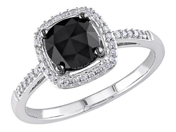 1.0 Carat (ctw) Black & White Diamond Ring in 14K White Gold - 5