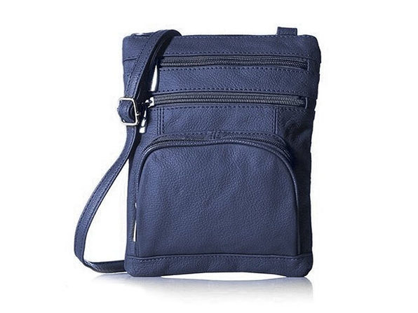Ultra-Soft Leather Crossbody Bag - Navy - Product Image