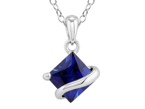 1.35 Carat (ctw) Lab-Created Blue Sapphire Pendant Necklace in Sterling Silver with Chain