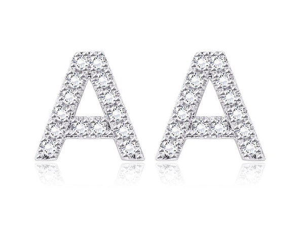 Monogram Initial Stud Earrings with Swarovski Crystals (Letter J)