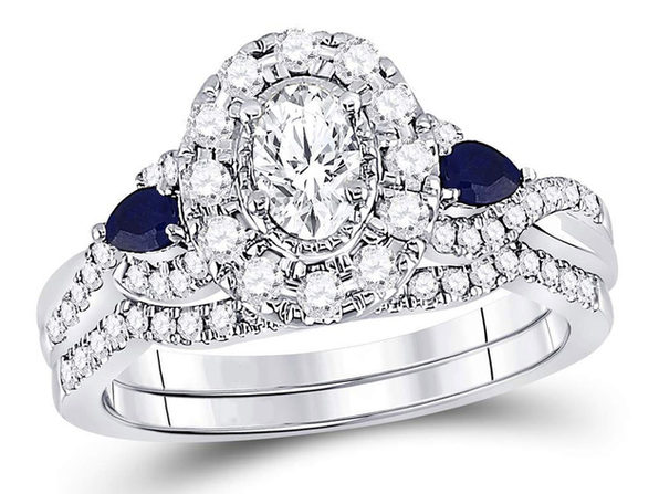 4/5 Carat (ctw G-H, I1-I2) Diamond Engagement Ring and Wedding Band Set in 14K White Gold with Blue Sapphires - 6