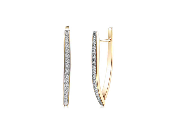 Swarovski Crystal Micro-Pav'e Curved Huggie Earrings In 18K-Plated Gold