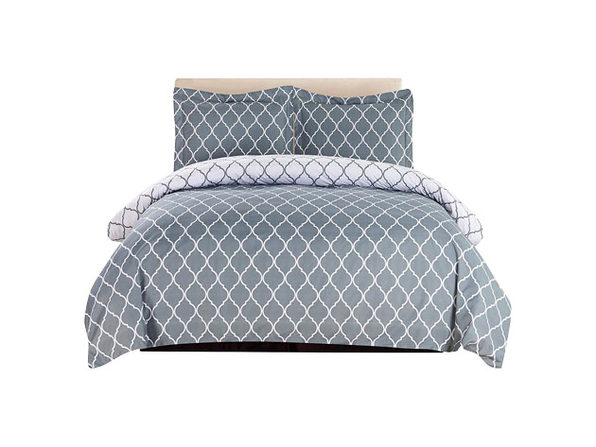 Lux Decor Collection 3-Piece Duvet Set Grey/White - Queen - Product Image