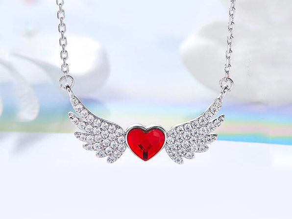 """Flying with the Wings of an Angel"" Ruby Necklace with Swarovski Crystals"