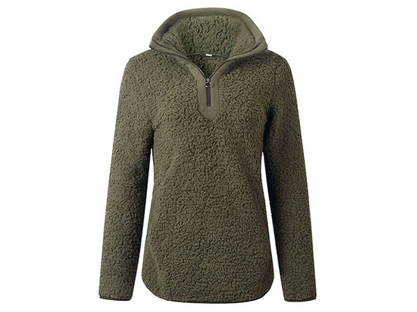 Green Loose Sherpa Pullover Stand Collar with Pockets (Large)