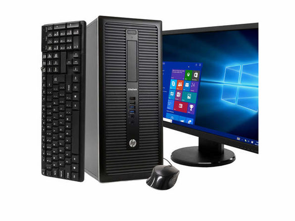 "HP EliteDesk 800 G1 Tower PC, 3.2GHz Intel i5 Quad Core Gen 4, 4GB RAM, 250GB SATA HD, Windows 10 Home 64 bit, BRAND NEW 24"" Screen (Renewed)"