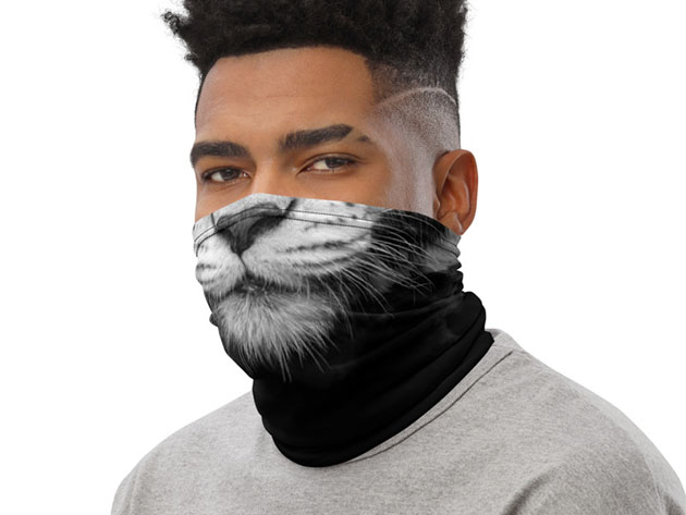 A person wearing a cat gaiter