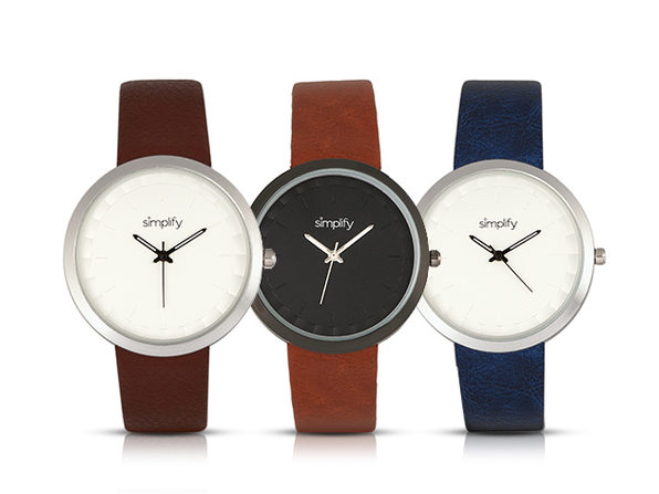 Simplify 6000 Series Leather Band Watch