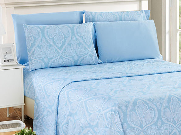 Paisley Microfiber Sheet Set (Blue/King)