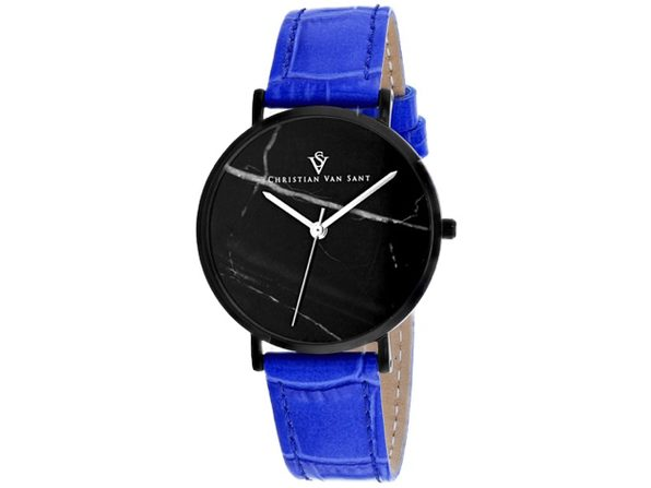 Christian Van Sant Women's Lotus Black Dial Watch - CV0424BL
