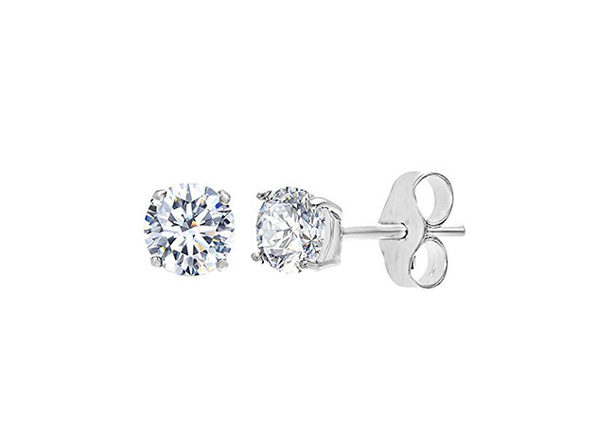 Classic 4-Prong Swarovski Crystals Stud Earrings (Silver)