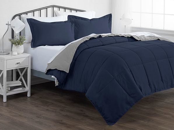 Down Alternative Reversible Comforter Set (Navy & Light Gray)