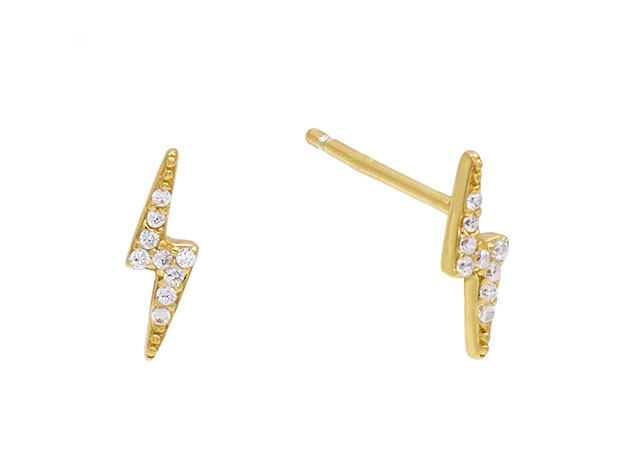 Lighting Bolt Stud Earrings With Swarovski Crystals Joyus