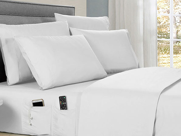 Kathy Ireland 6-piece Smart Sheet Sets w/ Pocket - White - Twin - Product Image