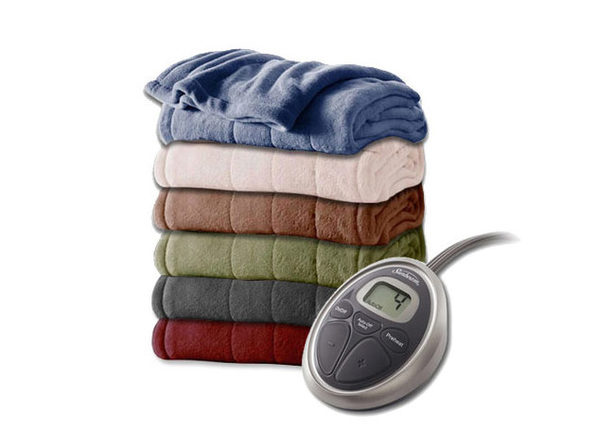 Sunbeam Channeled Velvet Plush Electric Heated Blanket Twin Full Queen King - Garnet