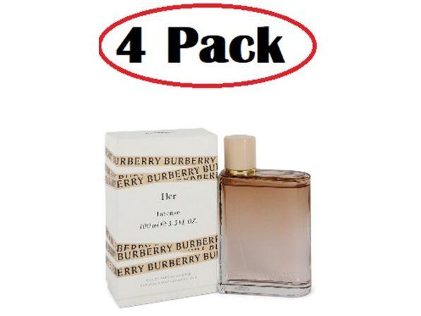 4 Pack of Burberry Her Intense by Burberry Eau De Parfum Spray 3.3 oz - Product Image