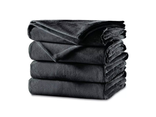 Sunbeam Velvet Plush Electric Heated Blanket King Charcoal Gray - Charcoal