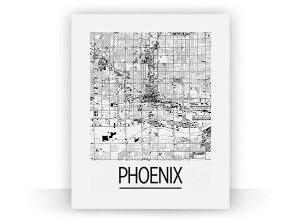 "Phoenix Art Deco Map Print (18"" x 24"")"