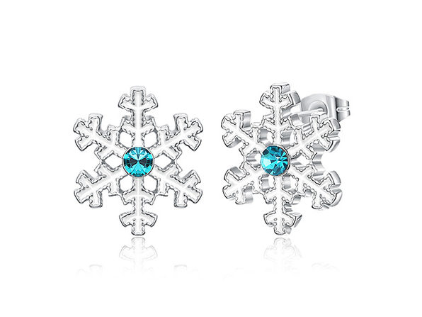 Blue Swarovski Snowflake Stud Earrings (White Gold)