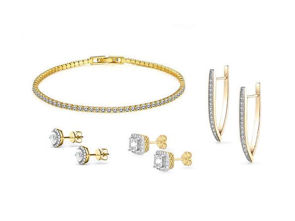 Bracelet & Earrings Made with Swarovski Elements: 4-Piece Jewelry Bundle (Gold)