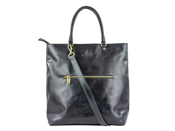 Convertible Leather Tote in Oiled Black