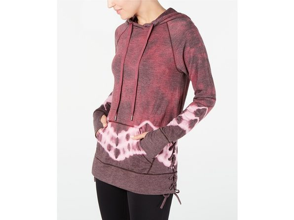 Ideology Women's Tie-Dyed Lace-Up Hoodie Red Passion Size Small