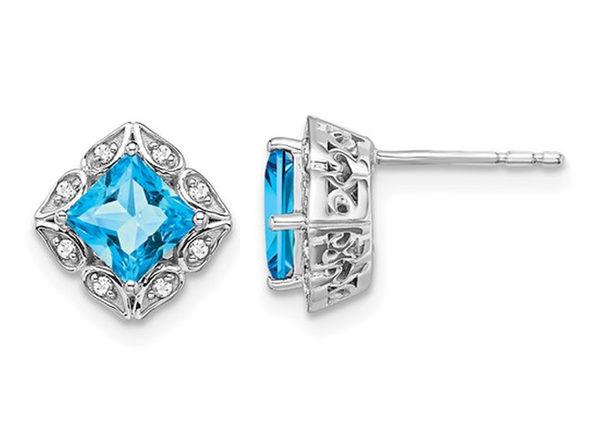 1.60 Carat (ctw) Blue Topaz Earrings in 14K White Gold with Diamonds